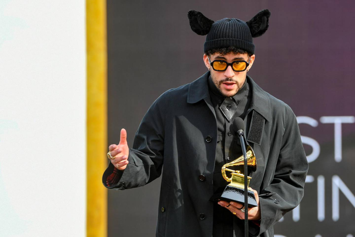 epa09075351 A handout photo made available by The Recording Academy shows Bad Bunny accepting the Grammy for Best Latin Pop or Urban Album for 'YHLQMDLG' onstage during the 63rd Annual Grammy Awards ceremony at the Los Angeles Convention Center, in Los Angeles, California, USA, 14 March 2021.  EPA/Kevin Winter / HANDOUT ATTENTION EDITORS: IMAGE TO BE USED ONLY IN RELATION TO THE STATED EVENT / HANDOUT EDITORIAL USE ONLY/NO SALES/NO ARCHIVES