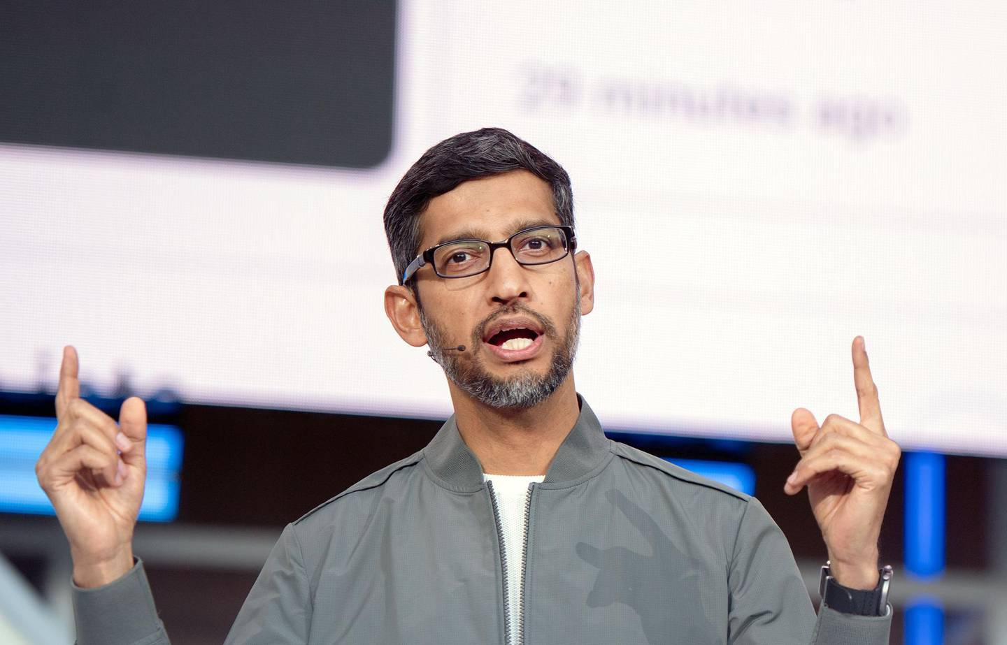 (FILES) In this file photo taken on May 07, 2019 Google CEO Sundar Pichai speaks during the Google I/O 2019 keynote session at Shoreline Amphitheatre in Mountain View, California .  Google parent Alphabet boosted the salary of newly anointed chief Sundar Pichai and promised more than $200 million in shares if the company hits performance goals, a regulatory filing on December 20, 2019 said. / AFP / Josh Edelson