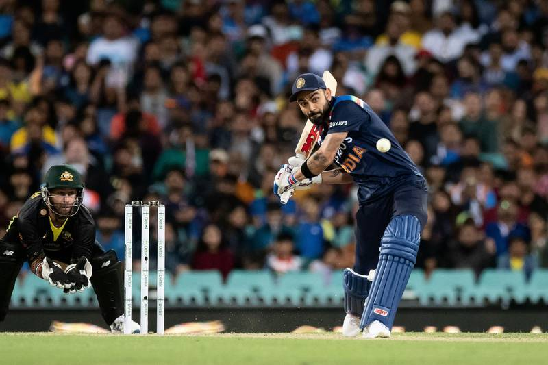 SYDNEY, AUSTRALIA - DECEMBER 08: Virat Kohli of India hits the ball during the Dettol T20 Series cricket match between Australia and India at the Sydney Cricket Ground on December 08, 2020 in Sydney, Australia. (Photo by Speed Media/Icon Sportswire via Getty Images)
