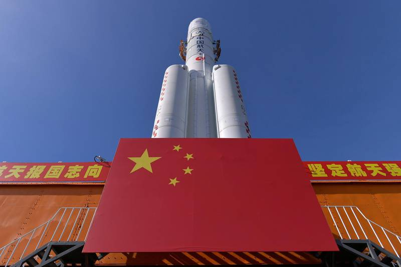 In this photo released by China's Xinhua News Agency, a Long March-5 rocket is seen at the Wenchang Space Launch Center in south China's Hainan Province, Friday, July 17, 2020. China launched its most ambitious Mars mission yet on Thursday, July 23, 2020 in a bold attempt to join the United States in successfully landing a spacecraft on the red planet. The Tianwen-1 was launched on a Long March-5 carrier rocket from a launch site on Hainan Island. (Zhang Gaoxiang/Xinhua via AP)