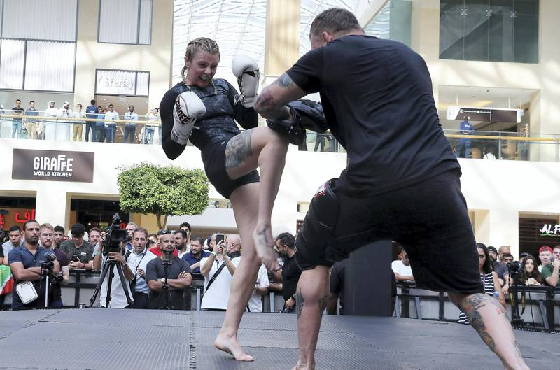 ABU DHABI ,  UNITED ARAB EMIRATES , SEPTEMBER 4 – 2019 :- Joanne Calderwood during the UFC Open Workout session held at The Yas Mall in Abu Dhabi. ( Pawan Singh / The National ) For Sports/Online/Instagram. Story by John