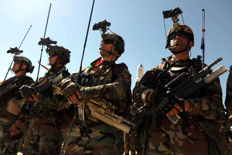 epa07780987 Afghan security forces attend a ceremony to mark the Independence Day in Herat, Afghanistan, 19 August 2019.  Afghanistan is celebrating the 100th anniversary of its independence from British rule on 19 August.  EPA/JALIL REZAYEE