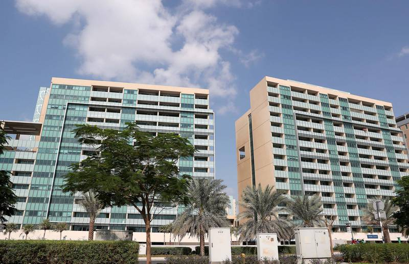 ABU DHABI , UNITED ARAB EMIRATES ,  November 21 , 2018 :- Residential buildings at the Al Muneera at the Raha Beach area in Abu Dhabi. ( Pawan Singh / The National )  For News. Story by Gillian