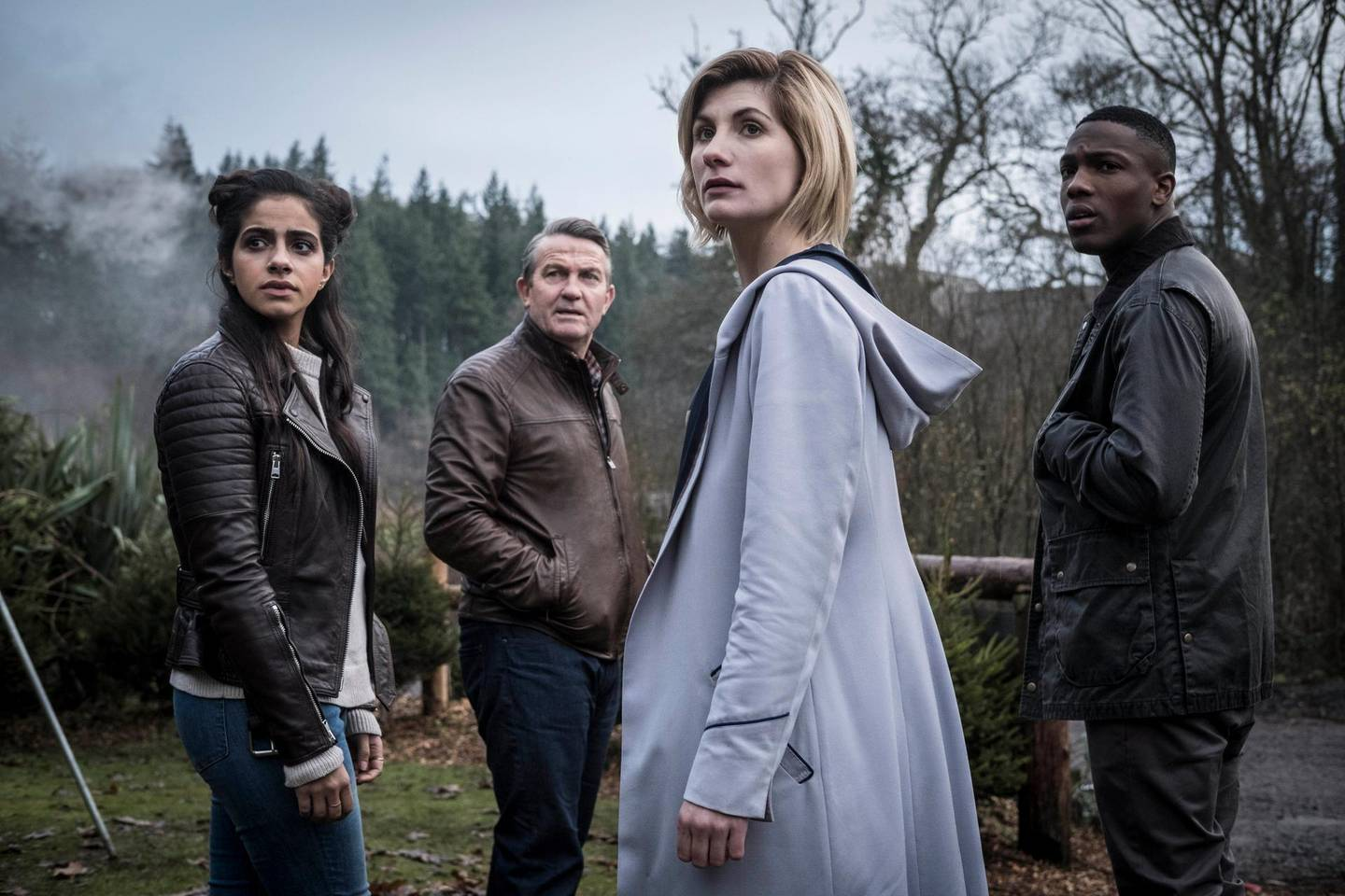 Picture Shows: Yasmin Khan (MANDIP GILL), Graham O'Brien (BRADLEY WALSH), The Doctor (JODIE WHITTAKER), Ryan Sinclair (TOSIN COLE)  in Doctor Who S11. Courtesy BBC / BBC Studios
