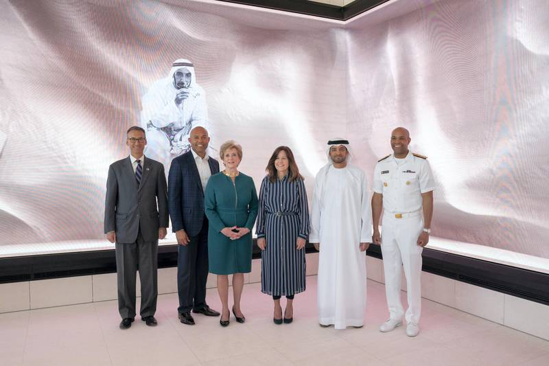 ABU DHABI, UNITED ARAB EMIRATES - March 13, 2019: HE Falah Mohamed Al Ahbabi, Chairman of the Department of Urban Planning and Municipalities, and Abu Dhabi Executive Council Member (2nd R) and Karen Pence, Second Lady of the United States (3rd R), stands for a photograph after exchanging gifts during a reception for the Special Olympics World Games Abu Dhabi 2019, at the Founders Memorial. Seen with Linda McMahon, Administrator of theSmall Business Administration (4th R).  ( Mohammed Al Hammadi / Ministry of Presidential Affairs )?
