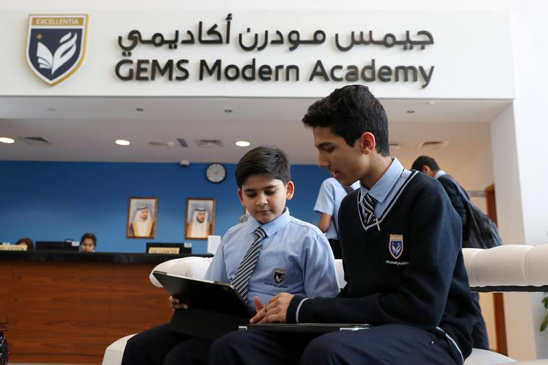 DUBAI ,  UNITED ARAB EMIRATES , JUNE 11 – 2019 :- Left to Right – Arham Jain and Muhammed Hafesjee , grade 8 student of GEMS Modern Academy developed the GMA lost and found website at the GEMS Modern Academy in Dubai. ( Pawan Singh / The National ) For News. Story by Anam