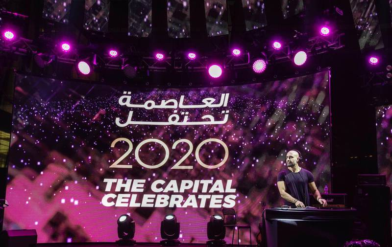 Abu Dhabi, United Arab Emirates, December 31, 2019.  DJ Aboud Rogeh rocks the house down at the NYE celebrations at Galleria Mall, Al Maryah Island.    Victor Besa / The NationalSection:  NAReporter:  Saeed Saeed