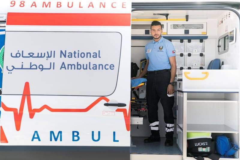 RAS AL KHAIMAH, UNITED ARAB EMIRATES - MAY 29, 2018. Mohammed Alshdaifat, Lead EMT respondant, in an ambulance,  outside Al Rifaa Civil Defence in Ras Al Khaimah.(Photo by Reem Mohammed/The National)Reporter: Nawal Al RamahiSection: NA
