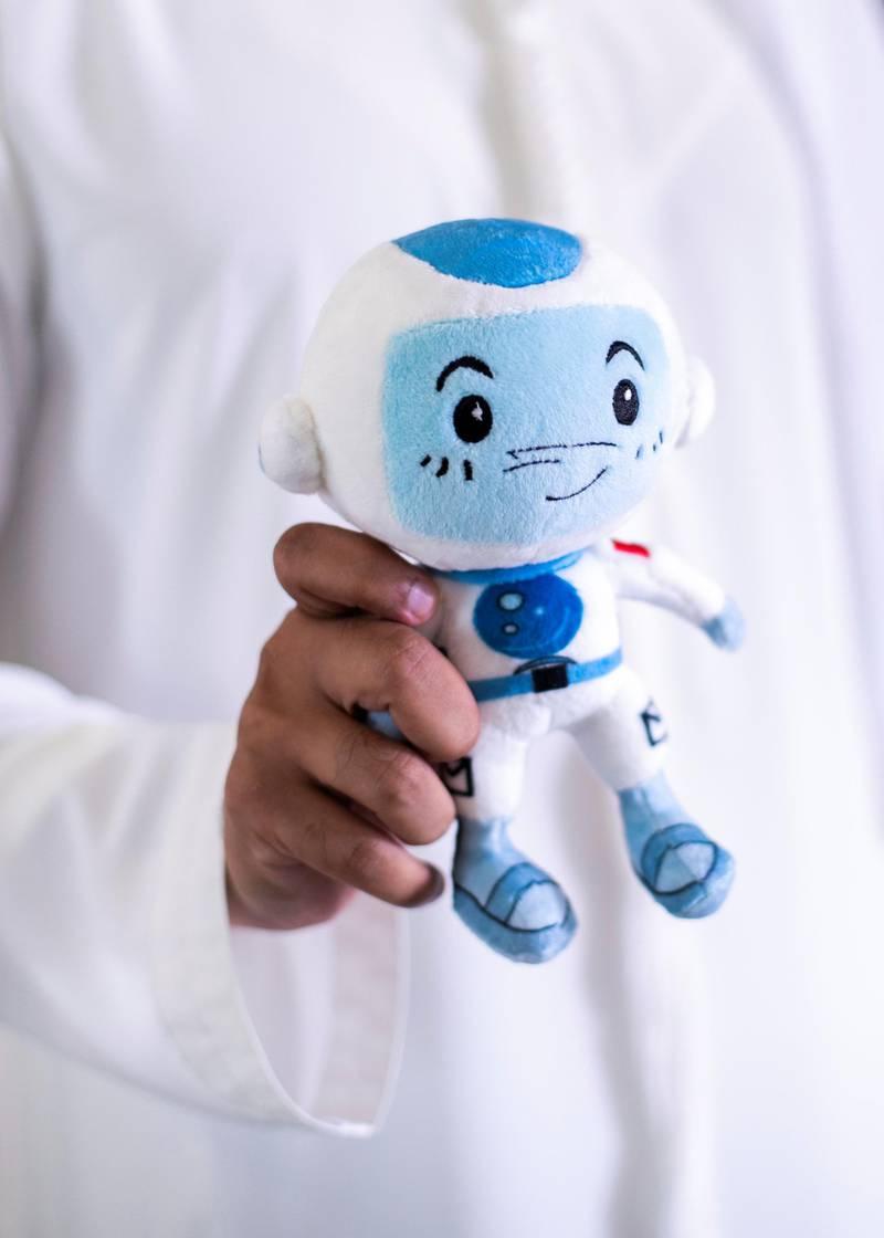 DUBAI, UNITED ARAB EMIRATES.  29 NOVEMBER 2020. Suhail, a stuffed toy mascot of the Mohammed Bin Rashid Space Centre (MBRSC). Suhail accompanied Emirati astronaut Hazza Al Mansoori on his space mission.(Photo: Reem Mohammed/The National)Reporter:Section: