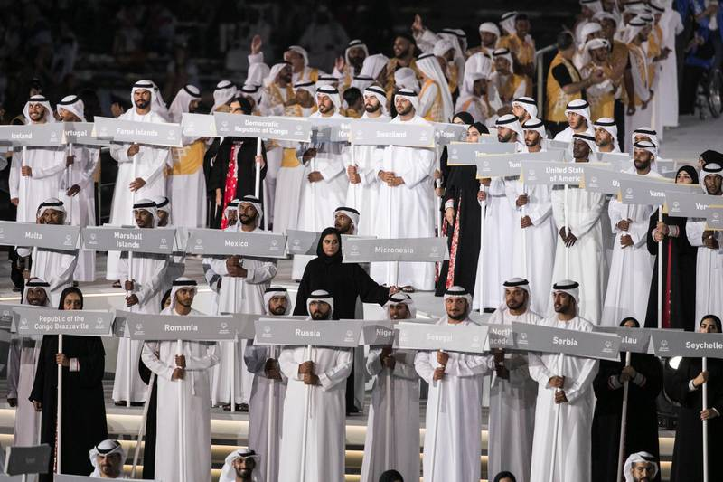 ABU DHABI, UNITED ARAB EMIRATES - March 21 2019.Special Olympics closing ceremony. (Photo by Reem Mohammed/The National)Reporter: Section:  NA