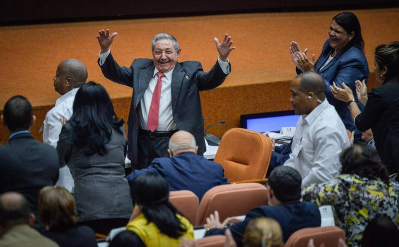 HAVANA, CUBA - APRIL 19: Former Cuban President Raul Castro is applauded during the National Assembly at Convention Palace on April 19, 2018 in Havana, Cuba Diaz-Canel will be the first non-Castro Cuban president since 1976. Raul Castro steps down after 12 years in power. (Photo by Adalberto Roque-Pool/Getty Images )