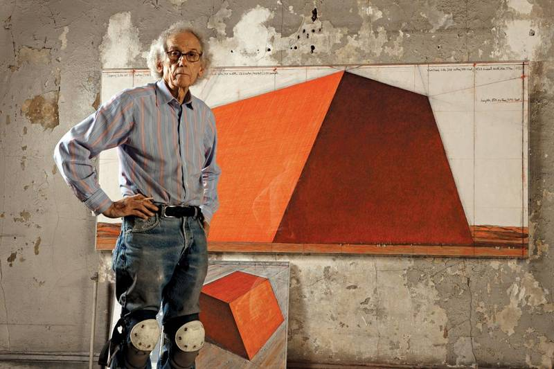 The Mastaba - Christo in his studio with a preparatory drawing for The Mastaba Courtesy Christo and the Maeght Foundation *** Local Caption ***   al77 BLOG ART maeght foundation_4.jpeg