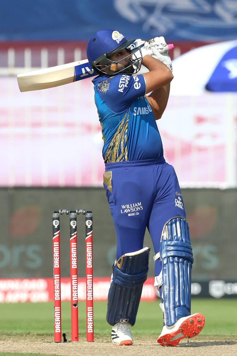 Rohit Sharma captain of Mumbai Indians bats during match 17 of season 13 of the Dream 11 Indian Premier League (IPL) between the Mumbai Indians and the Sunrisers Hyderabad held at the Sharjah Cricket Stadium, Sharjah in the United Arab Emirates on the 4th October 2020. Photo by: Deepak Malik  / Sportzpics for BCCI