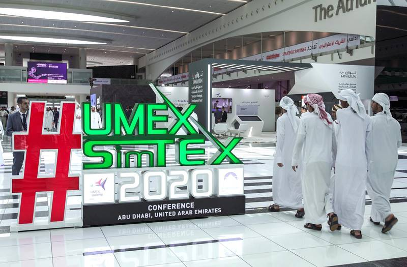 Abu Dhabi, United Arab Emirates, February 24, 2020.  The Unmanned Systems Exhibition and Conference (UMEX 2020) and Simulation Exhibition and Conference (SimTEX 2020).--  Visitors arrive at the UMEX and SimTex 2020 convention. Victor Besa / The NationalSection:  NAReporter:  None