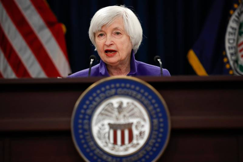 FILE - In this Dec. 13, 2017, file photo, Federal Reserve Chair Janet Yellen speaks during a news conference following the Federal Open Market Committee meeting in Washington. The Federal Reserve releases minutes from its January 2018 meeting on Wednesday, Feb. 21. (AP Photo/Carolyn Kaster, File)