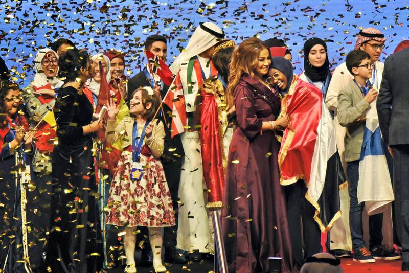 Sudanese Hadeel Anwar, right, 13-year-old, won the 2019 Arab Reading Challenge outperforming 13.5 million participants from 49 countries in Dubai, UAE, Wednesday, Nov. 13, 2019. (Photos by Shruti Jain - The National)