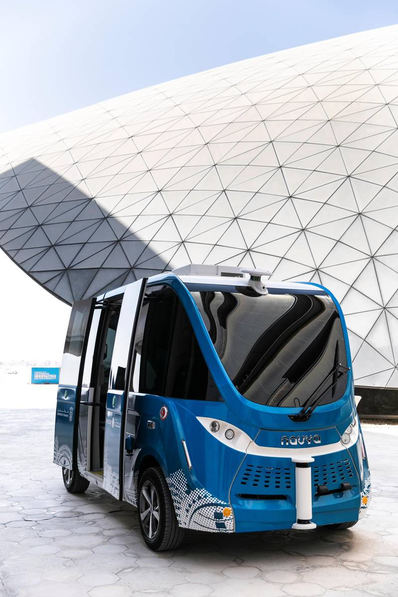 ABU DHABI, UNITED ARAB EMIRATES - OCTOBER 22, 2018.   NAVYA autonomous vehicle.  Today, Masdar City, Abu Dhabiís sustainable urban development, has embarked on the next phase of its sustainable mobility network with NAVYA autonomous vehicle.  Implementation of Masdar Cityís wider transportation strategy will see the arrival of a fleet of seven AutonomÆ Shuttles from next year. Over time the shuttle route map will be expanded to connect the Etihad Eco Residence complex above the cityís North Car Park with the headquarters of the International Renewable Energy Agency (IRENA) and Majid Al Futtaimís My City Centre Masdar shopping mall due for completion in the first half of 2019.   (Photo by Reem Mohammed/The National)  Reporter: DANIA AL SAADI Section:  BZ