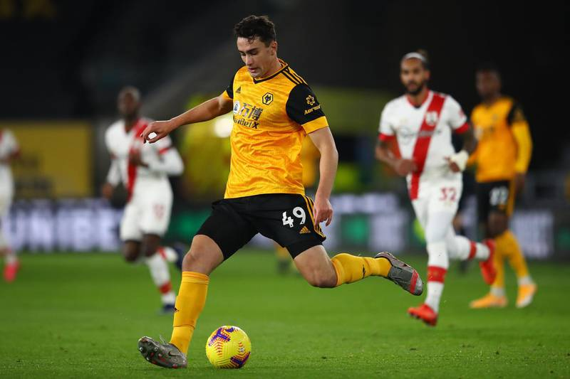 WOLVERHAMPTON, ENGLAND - NOVEMBER 23: Max Kilman of Wolverhampton Wanderers during the Premier League match between Wolverhampton Wanderers and Southampton at Molineux on November 23, 2020 in Wolverhampton, England. Sporting stadiums around the UK remain under strict restrictions due to the Coronavirus Pandemic as Government social distancing laws prohibit fans inside venues resulting in games being played behind closed doors. (Photo by Michael Steele/Getty Images)