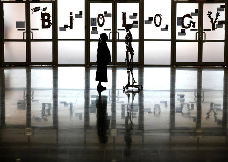 Dubai, United Arab Emirates - October 21st, 2017: A student in the science department looks at a skeleton at the celebration of Repton School DubaiÕs 10th anniversary. Saturday, October 21st, 2017 at Repton School, Nad Al Sheba, Dubai. Chris Whiteoak / The National