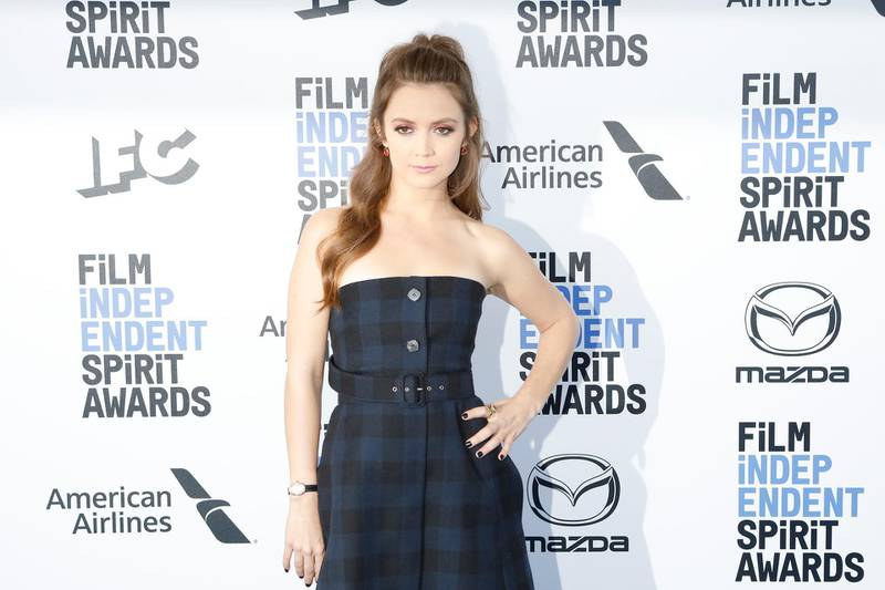epa08204343 US actress Billie Lourd arrives for the 2020 Film Independent Spirit Awards in Santa Monica, California, USA, 08 February 2020. The award ceremony, organized by the non-profit organization Film Independent, honors the finest independent films of the preceding year.  EPA-EFE/NINA PROMMER