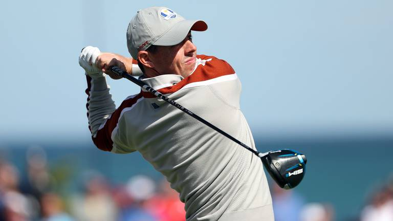An image that illustrates this article McIlroy to lead Europe out in singles as United States close in on Ryder Cup