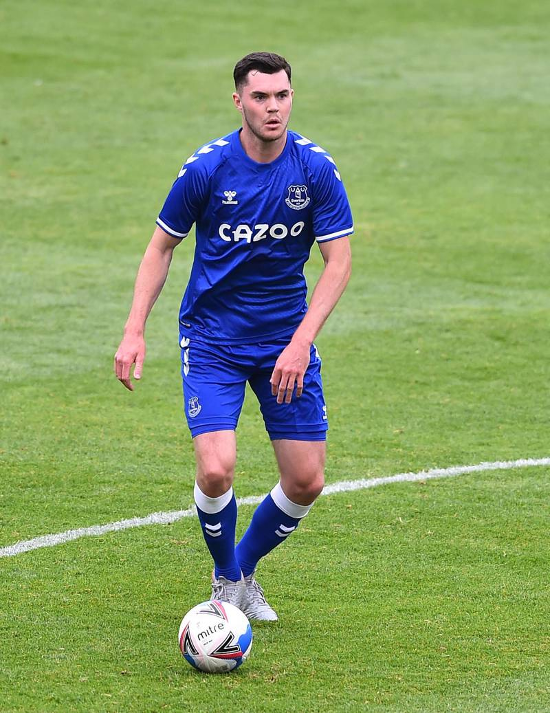 BLACKPOOL, ENGLAND - AUGUST 22: Michael Keane of Everton in action during the pre-season friendly match between Blackpool and Everton at Bloomfield Road on August 22, 2020 in Blackpool, England. (Photo by Nathan Stirk/Getty Images)
