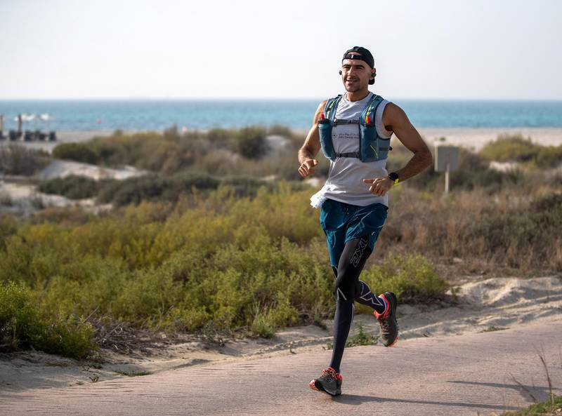 Abu Dhabi, U.A.E., June 1, 2018.  STORY BRIEF: Just three years after first pulling on his running shoes, when he still weighed more than 120 kilograms, Khaled Al Suwaidi is preparing to run 327 kilometres to help his father's cancer charity. Now a rather more lightweight 72kg, the 34-year-old Emirati will run from Fujairah to Port Zayed in Abu Dhabi next month – in only three daysVictor Besa / The NationalReporter:  Nick WebsterSection:  National