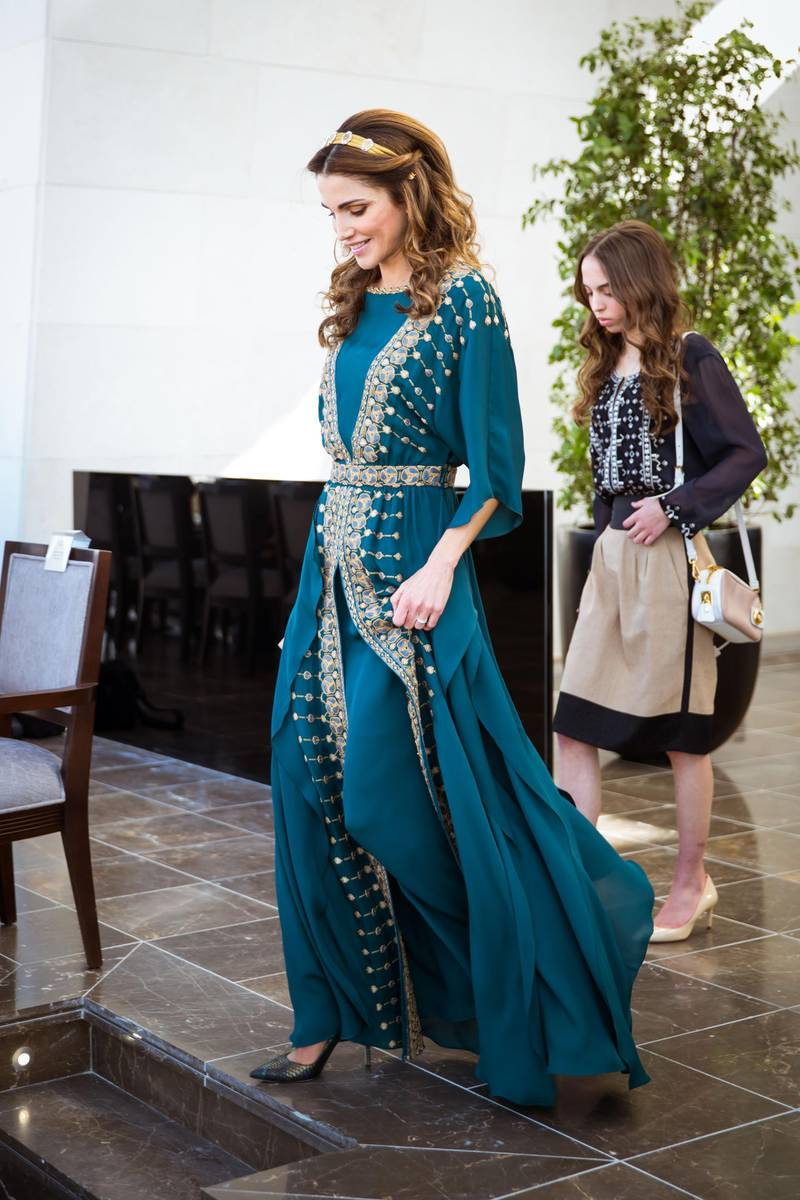 AMMAN, JORDAN - JUNE 02: In this handout image provided by Royal Hashemite Court,  Queen Rania of Jordan attends to celebrate the Great Arab Revolt centennial at Al Rayah parade ground in the Royal Hashemite Court on June 02, 2016 in Amman, Jordan. (Photo by Royal Hashemite Court vis Getty Images)