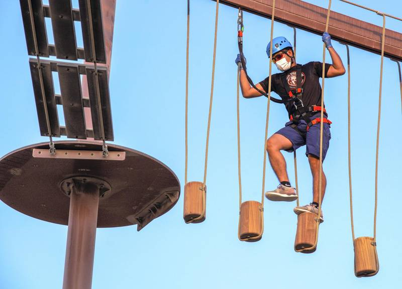 Abu Dhabi, United Arab Emirates, November 8, 2020.   The new Hudayriyat Leisure and Entertainment District at Hudayriyat Island.  The Circuit X Ropes area.Victor Besa/The NationalSection:  NAReporter:  Haneen Dajani