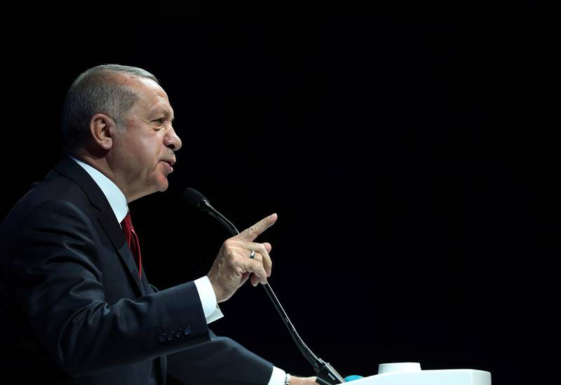 Turkish President Tayyip Erdogan addresses bussiness people during a meeting in Ankara, Turkey, May 2, 2019. Kayhan Ozer/Presidential Press Office/Handout via REUTERS ATTENTION EDITORS - THIS PICTURE WAS PROVIDED BY A THIRD PARTY. NO RESALES. NO ARCHIVE