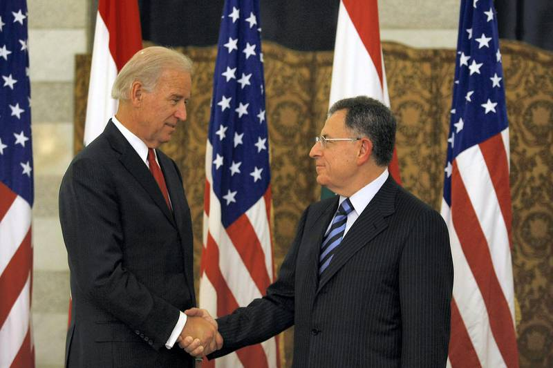 US Vice President Joe Biden (L) shakes hands with Lebanese Prime Minister Fuad Siniora during a meeting at the governmental palace in Beirut on May 22, 2009. Biden said that Washington will determine its aid to Lebanon based on the outcome of a tightly contested legislative election that the Islamist group Hezbollah could win. AFP PHOTO/JOSEPH BARRAK (Photo by JOSEPH BARRAK / AFP)