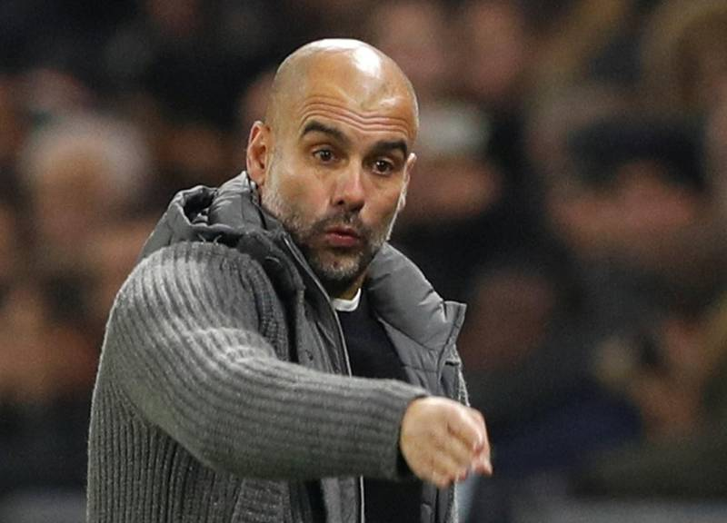 Soccer Football - Champions League - Group Stage - Group F - Olympique Lyonnais v Manchester City - Groupama Stadium, Lyon, France - November 27, 2018  Manchester City manager Pep Guardiola gestures             Action Images via Reuters/John Sibley