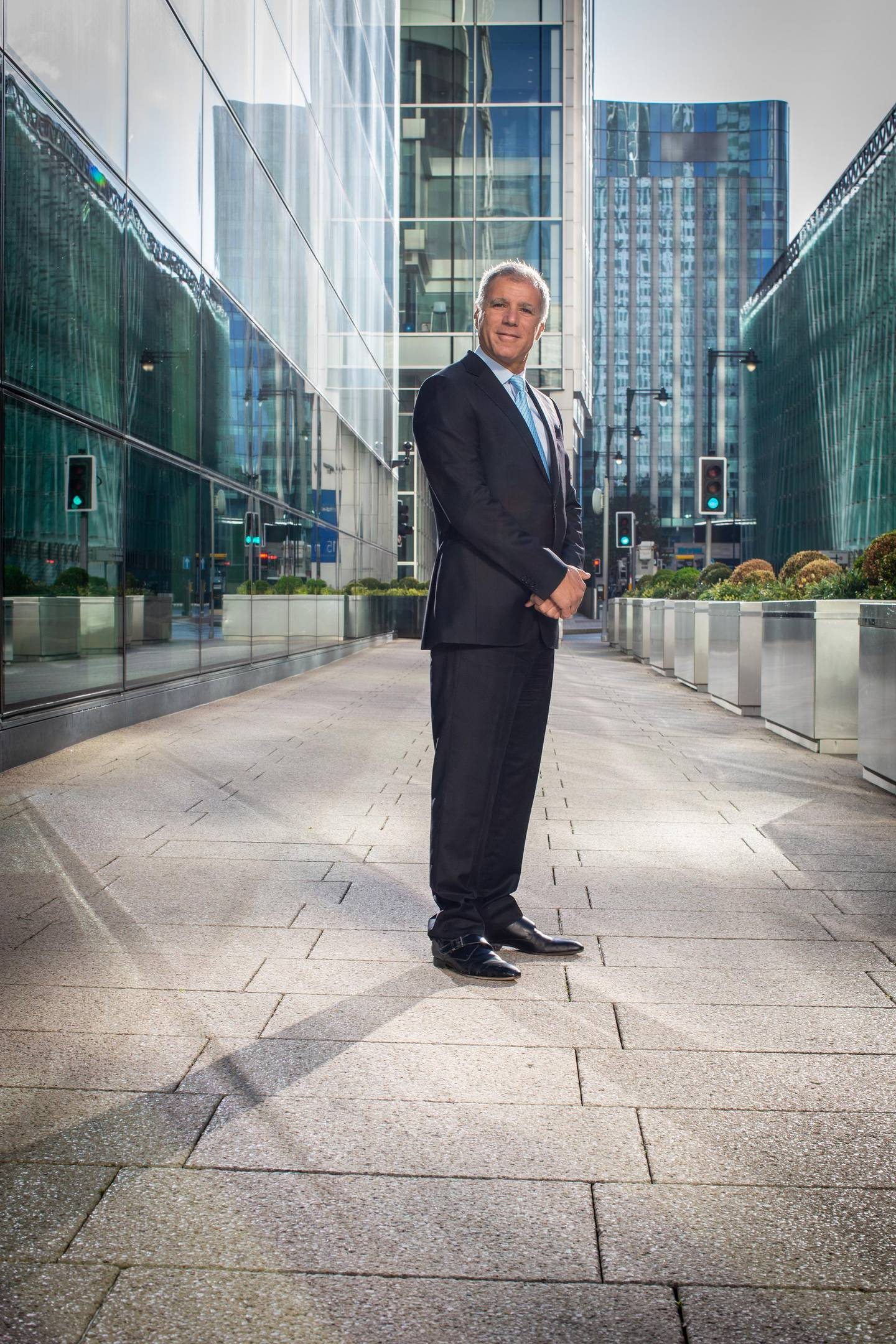 Georges Elhedery, Co-CEO of Global Banking & Markets at HSBC. PHOTOGRAPHED OUTSIDE OF THE HSBC OFFICES IN CANARY WHARF, LONDON. FOR THE NATIONAL NEWSPAPER.
