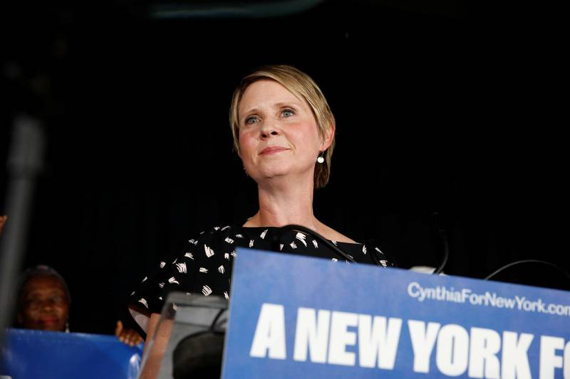 Democratic candidate for governor, Cynthia Nixon listens to cheers from supporters and attendees after conceding the primary at Cafe Omar in the Brooklyn borough of New York City, U.S., September 13, 2018.  REUTERS/Caitlin Ochs