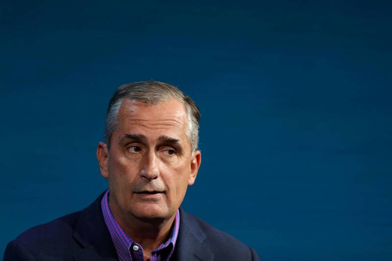 FILE PHOTO: Brian Krzanich CEO of Intel speaks at the Wall Street Journal Digital Conference in Laguna Beach, California, U.S., October 17, 2017.  REUTERS/Mike Blake/File Photo
