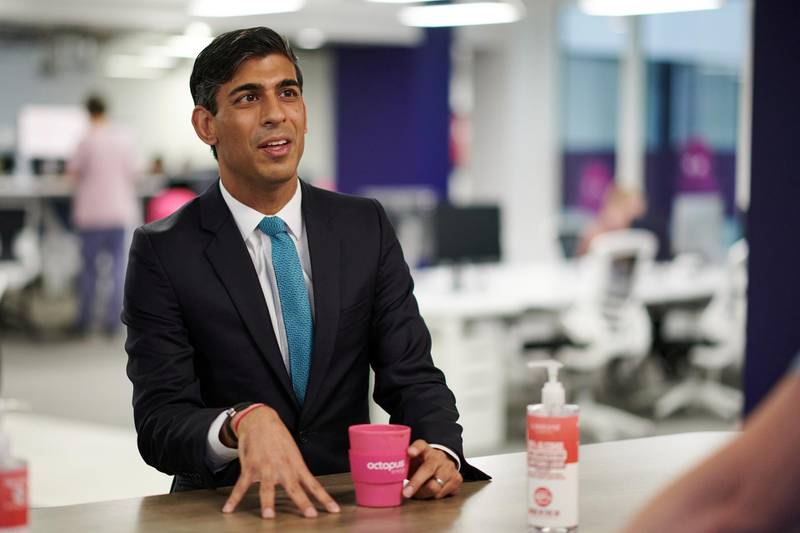 FILE PHOTO: Britain's Chancellor of the Exchequer Rishi Sunak pictured in  London, Britain October 5, 2020. Leon Neal/Pool via REUTERS/File Photo