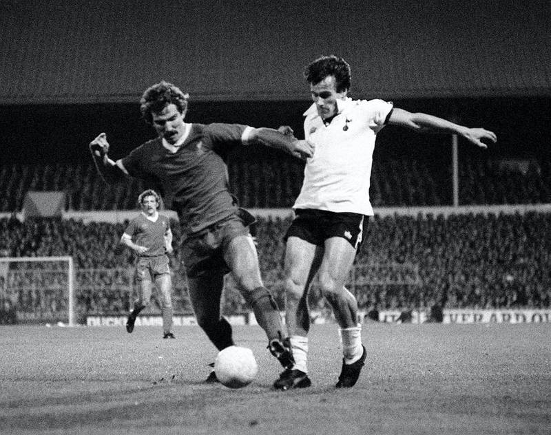 Liverpool's Graeme Souness (left) battles for the ball with Peter Taylor of Tottenham Hotspur, during their Division One football match at White Hart Lane, in London.   (Photo by PA Images via Getty Images)