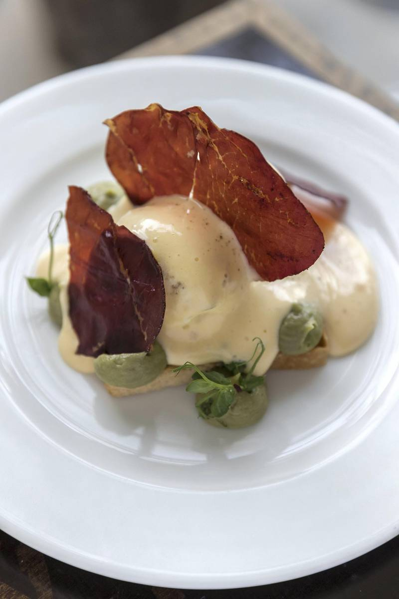 DUBAI, UNITED ARAB EMIRATES. 28 JANUARY 2018. Cabin, a restaurant and cafe that's also an art studio and a store located in Barsha South. Breakfast dish: poached eggs, hollandaise, spinach, bresaola, avacado puree, sourdough. (Photo: Antonie Robertson/The National) Journalist: Hala Khalaf. Section: Weekend.