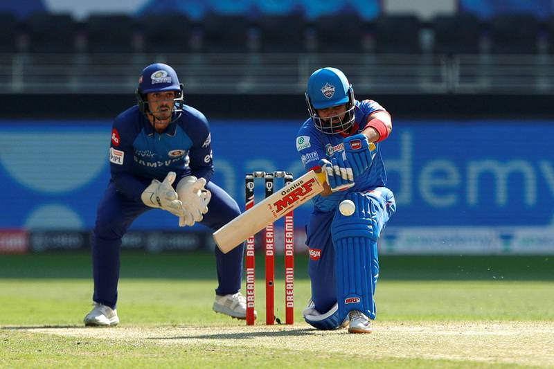Prithvi Shaw of Delhi Capitals batting during match 51 of season 13 of the Dream 11 Indian Premier League (IPL) between the Delhi Capitals and the Mumbai Indians held at the Dubai International Cricket Stadium, Dubai in the United Arab Emirates on the 31st October 2020.  Photo by: Saikat Das  / Sportzpics for BCCI