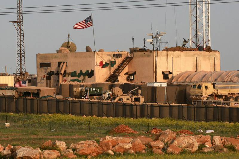 A picture taken on April 2, 2018 shows a general view of a US military base in the al-Asaliyah village, between the city of Aleppo and the northern town of Manbij. / AFP PHOTO / Delil SOULEIMAN