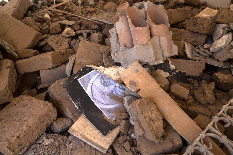 A sketch of a woman is seen amongst the rubble of the damaged  ÒArts and Crafts Village , in Gaza City on July 18,2018. The museum is managed by the City Council in Gaza that was heavily damaged in an Israeli airstrike that killed two teens . It was founded by late Palestinian President Yasser Arafat in 1998, with financial support from the United Nations Development Program. Last Saturday Israeli planes carried out attacks on dozens of targets in the Gaza Strip in the most extensive Israeli military assault since the 2014 ÒOperation Protective EdgeÓ in which over 2,200 Palestinians were killed. (Photo by Heidi Levine for The National).