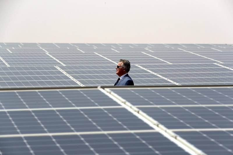 ABU DHABI,  UNITED ARAB EMIRATES , OCTOBER 1 – 2019 :- Jorge Perea , Executive Managing Director showing the Noor Solar Power Plant in Sweihan in Abu Dhabi. ( Pawan Singh / The National ) For News/Online/Instagram/Big Picture. Story by Daniel
