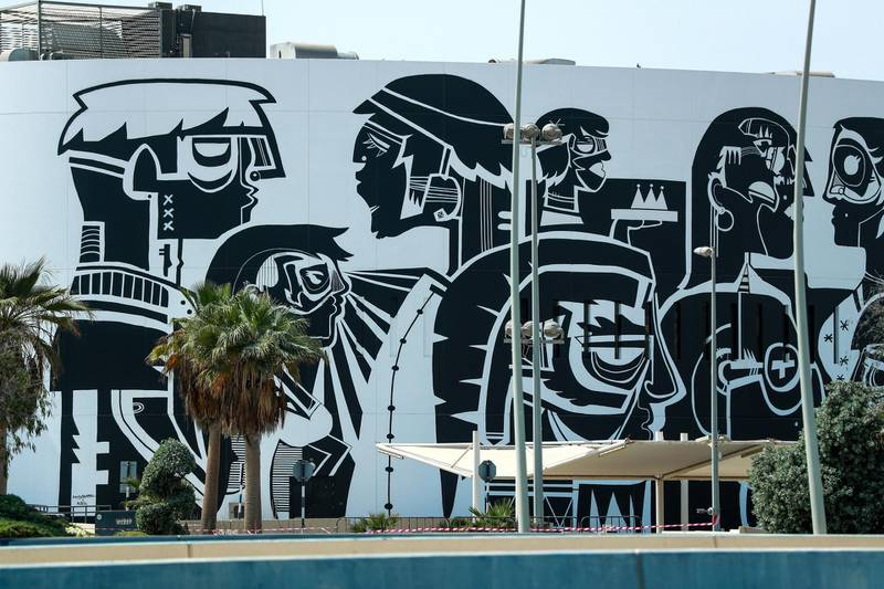 Abu Dhabi, United Arab Emirates, March 2, 2021.   Stock images of Yas residential areas.  Wall art work along Yas Drive.Victor Besa / The NationalSection:  NA