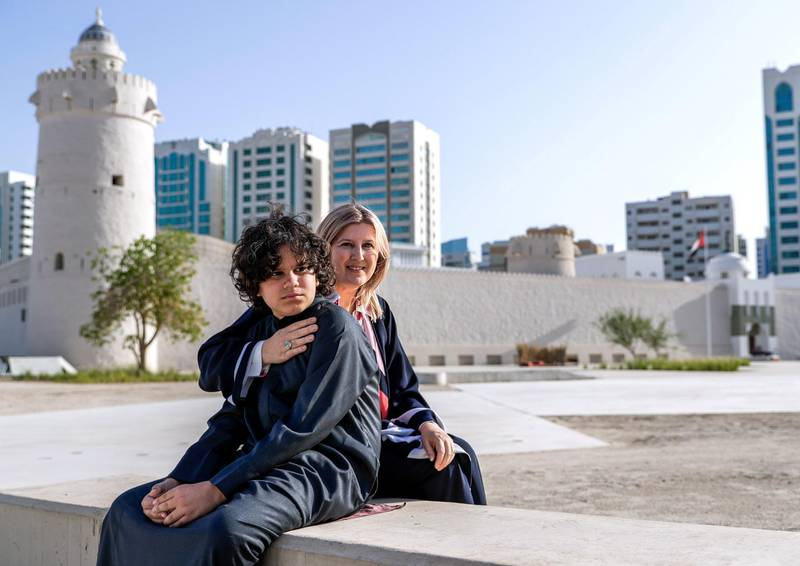 Abu Dhabi, April 17, 2019.  Michele Ziolkowski has written a sequel to a fictional story about her Autistic son Suhail and his superpowers. -- Portrait of Michele and her son Suhail at Qasr Al Hosn where the book takes place.  Victor Besa/The National Section:  BZ Reporter:  Anna Zacharias