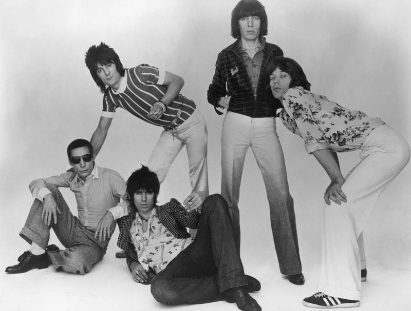The Rolling Stones, 1977. Left to right: Charlie Watts, Ron Wood, Keith Richards, Bill Wyman and Mick Jagger. (Photo by Hulton Archive/Getty Images)