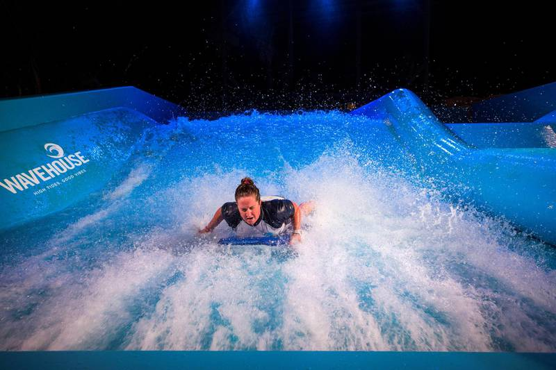 DUBAI, UNITED ARAB EMIRATES - A wave rider at a  preview of new entertainment complex, Warehouse at Atlantis The Palm Dubai.  Leslie Pableo for The National for Katy Gillett's story