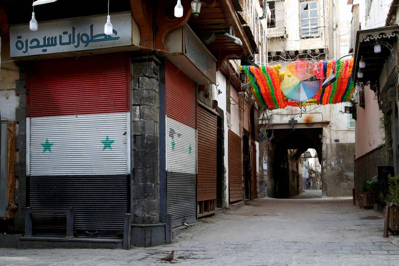 FILE PHOTO: A view shows closed shops as part of the preventive measures against the spread of the coronavirus disease (COVID-19), in the old city of Damascus, Syria March 24, 2020. Picture taken March 24, 2020. REUTERS/Yamam Al Shaar/File Photo