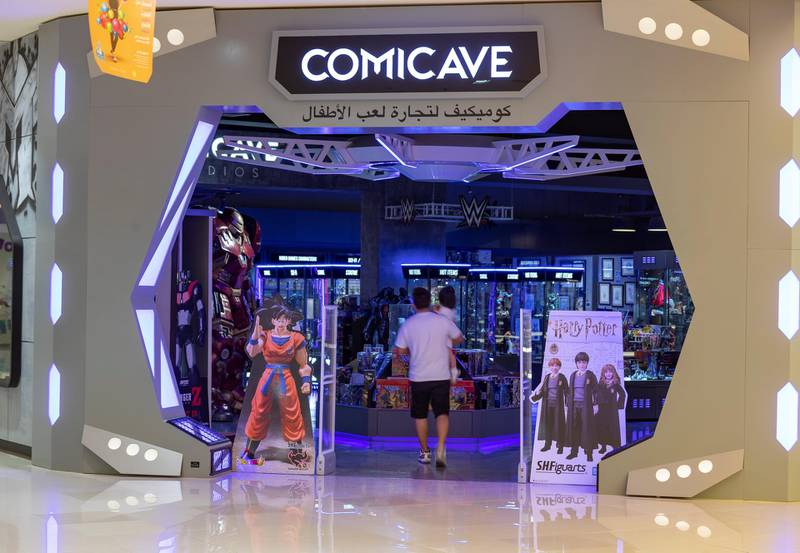 Dubai, United Arab Emirates - May 26, 2019: Photo Project. Comicave is the WorldÕs largest pop culture superstore involved in the retail and distribution of high-end collectibles, pop-culture merchandise, apparels, novelty items, and likes. Thursday the 30th of May 2019. Dubai Outlet Mall, Dubai. Chris Whiteoak / The National