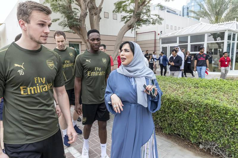 DUBAI, UNITED ARAB EMIRATES. 25 FEBRUARY 2019.  Arsenal FC and UAE Al Nasr FC players visit the Rashid Center for People with Determination in Al Barsha. (Photo: Antonie Robertson/The National) Journalist: Liza Ayach Section: National.