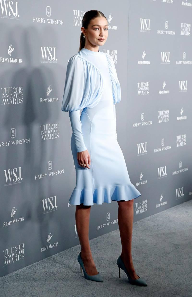 epa07977742 US model Gigi Hadid poses for a photo during the WSJ Mag 2019 Innovator Awards at The Museum of Modern Art in New York, New York, USA, 06 November 2019.  EPA-EFE/JASON SZENES